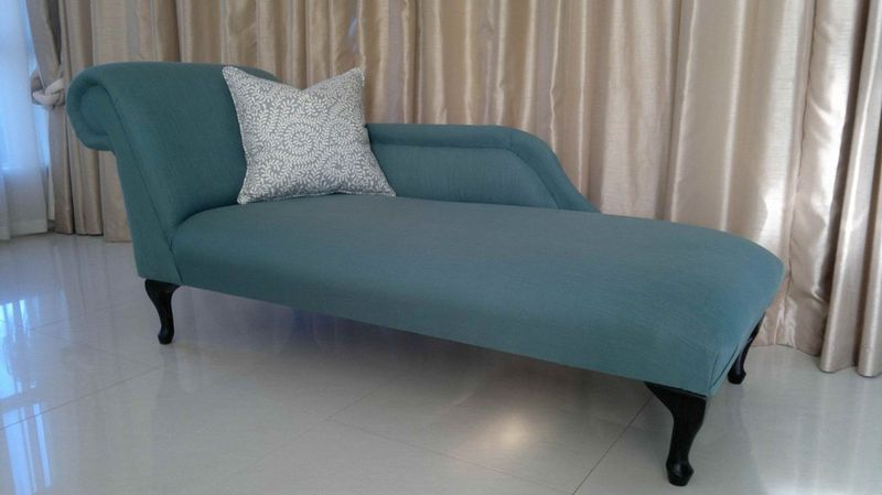 Fabric chaise longue teal upholstery cape town for Recover furniture cape town