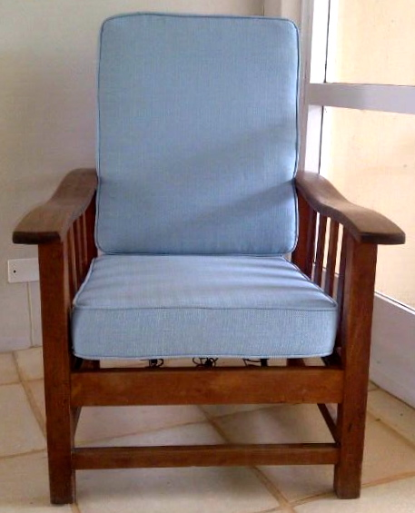 Fabric morris chair blue upholstery cape town for Recover furniture cape town