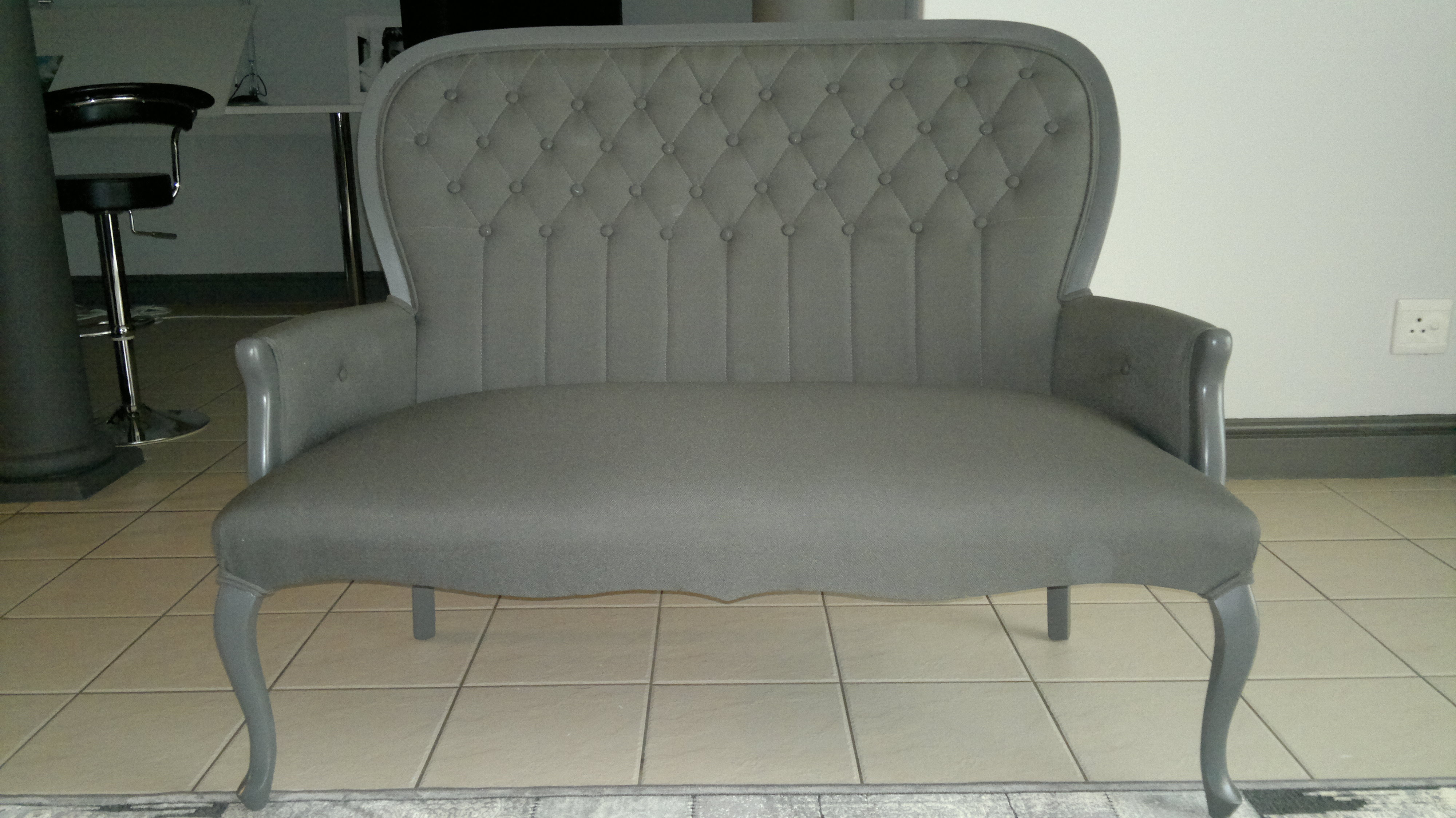 Fabric Queen Anne Sofa Grey Upholstery Cape Town