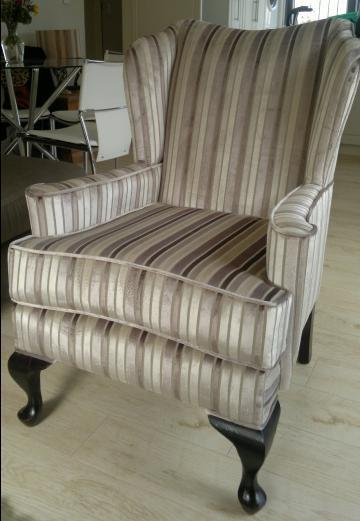 Great Fabric Wingback Chair Stripes