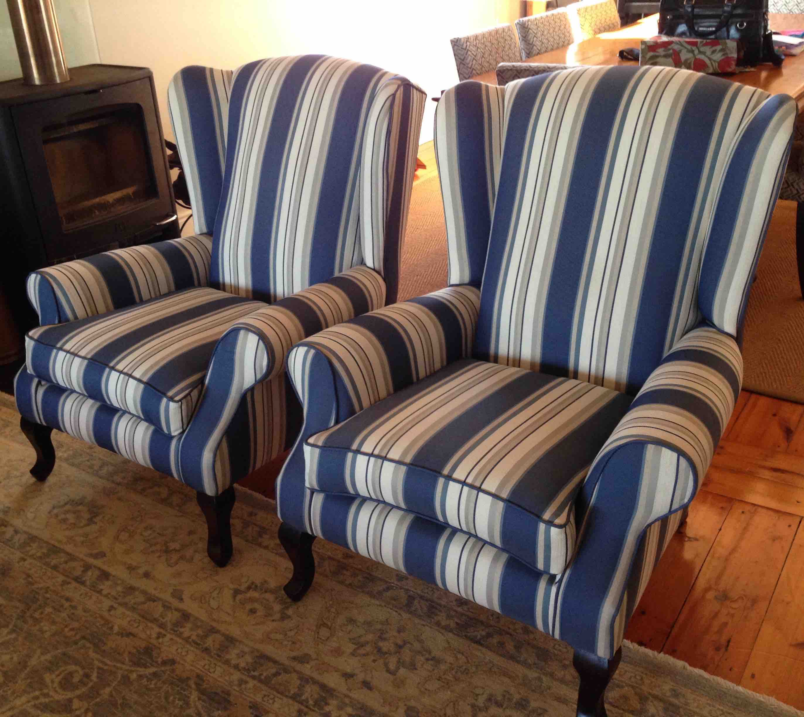fabric wingback chairs blue stripes upholstery cape town. Black Bedroom Furniture Sets. Home Design Ideas