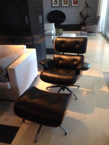 Reupholstered Leather Eames Chair